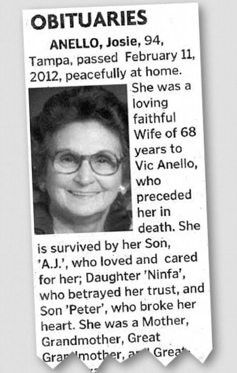 Polémica: El obituario, publicado en el diario The Tampa Tribune que parecía un homenaje público amante, hasta que el acusador llegó a la tercera línea