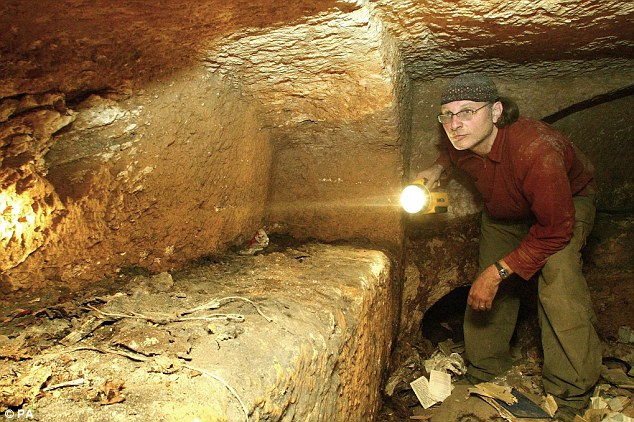 Filmmaker Simcha Jacobovici examines a section of a nearby tomb in 2007