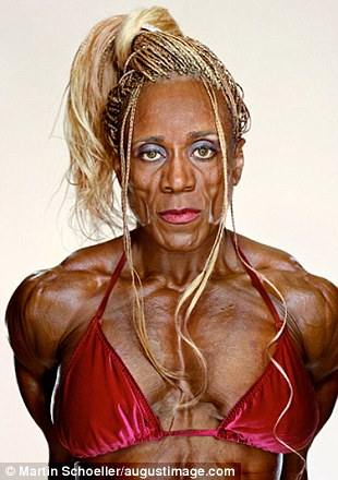 Pecs appeal: Bodybuilders usually carry out a routine set to music where they strike poses to best show off their muscles - contestants are judged on symmetry, shape, proportion and muscle tone