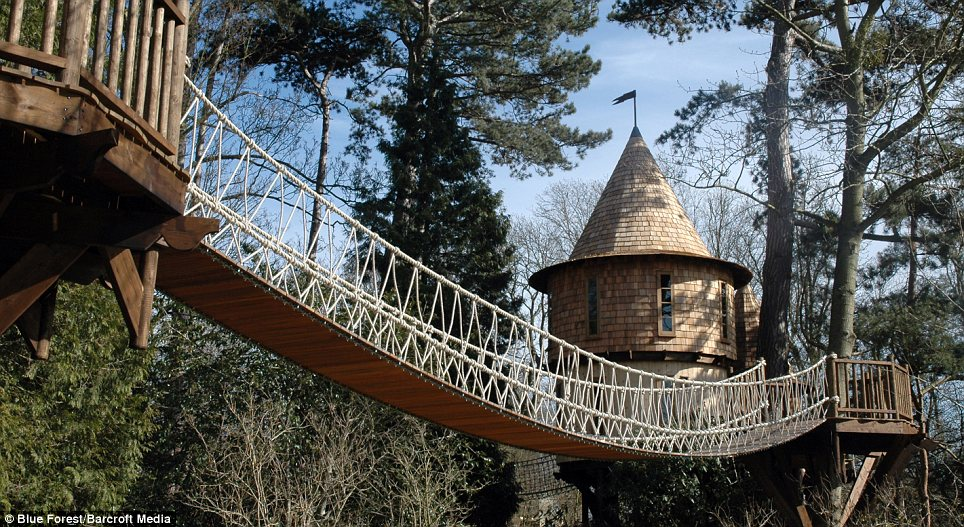 Kids heaven: This large project features two luxurious tree houses, a canopy walkway and a bespoke adventure play area and assault course that the company say could be used for adults and children