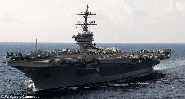 Burial: After bin Laden was killed, the Obama administration said his body was buried at sea off the USS Carl Vinson, pictured here, in accordance with Islamic tradition