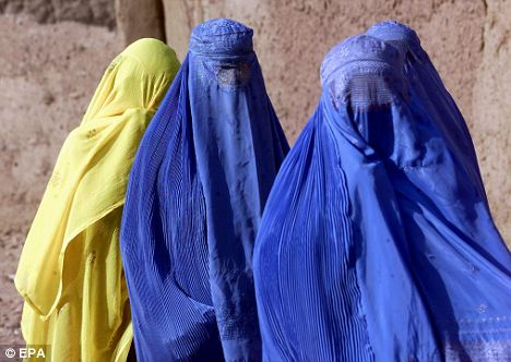 Restrictions: Afghan women pictured in 2001 wearing the burka. Activists worry advances in women's rights could be bargained away by the government