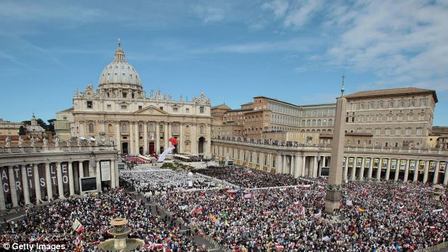 Crowds gather in St Peter's Square in Vatican City which has been placed on a list of countries that could be involved in money laundering