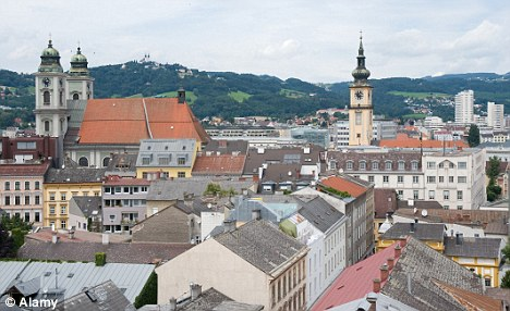 Freedom: Miss James said she enjoyed living in Linz, pictured, but her parents disapproved of European customs