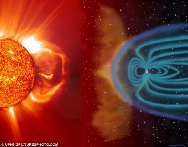 Aurora borealis Images of solar flares and northern