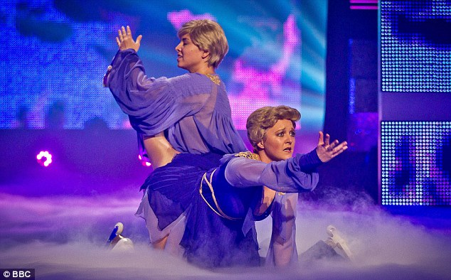 On ice: Watson and Oliver thrilled the audience with their hilarious tribute to Torvill and Dean's bolero