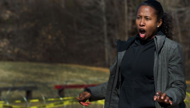 Heating up: Al-Jazerra TV camera woman Trudy Hutcherson reacts as she is targeted with the wave - classed as a ¿counter personnel¿ weapon, it is said to be safer to control crowds than other non-lethal weapons like rubber bullets or pepper spray