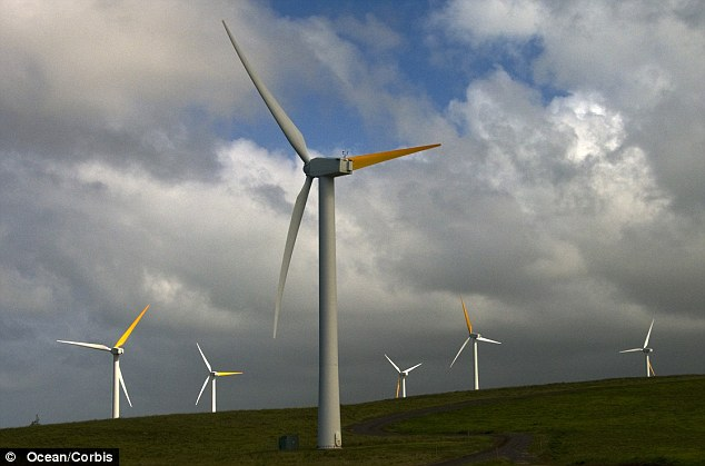 Turbines on the island of Hawaii which is soon to benefit from new subsides for larger wind farms