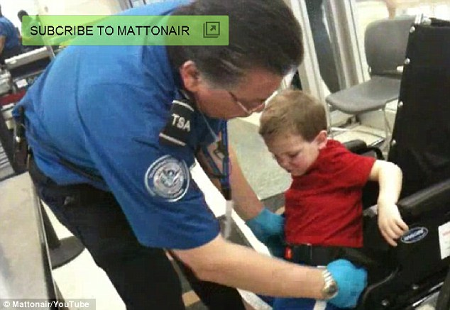 Outrage: The wheel-chair bound three-year-old boy was stopped at O'Hare Airport in Chicago and subjected to invasive checks