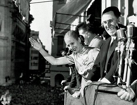 During the war, Argentinian President Juan Peron, pictured with his wife Eva in Buenos Aires in 1950, sold 10,000 blank Argentine passports to ODESSA - the organisation set up to protect former SS men in the event of defeat