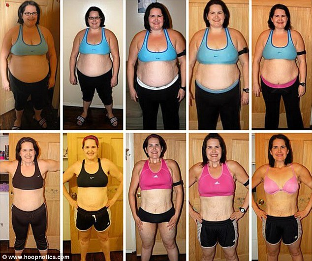 Hula-moly! Jen Moore's dramatic weight loss from 288lbs to 145lbs as charted by the hooping fanatic herself