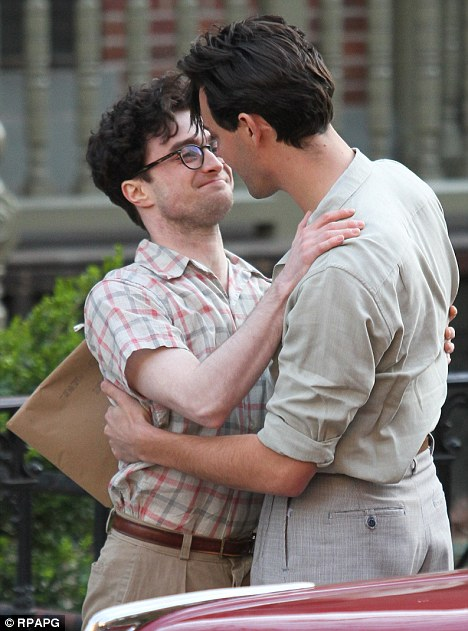 Friendly: Daniel Radcliffe was spotted getting cosy with a co-star on the set of his new movie, Kill Your Darlings, in Harlem, New York