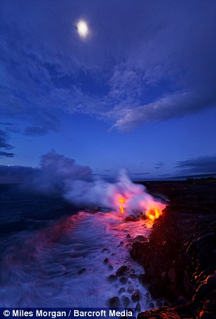 Lava flows hit the sea