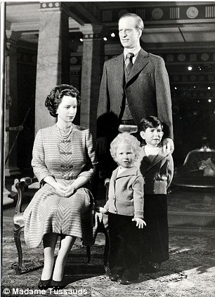 Queen Elizabeth II, Prince Philip, Princess Anne (Princess Royal) and Prince Charles wax figures at Madame Tussauds pictured in 1952. REXMAILPIX.
