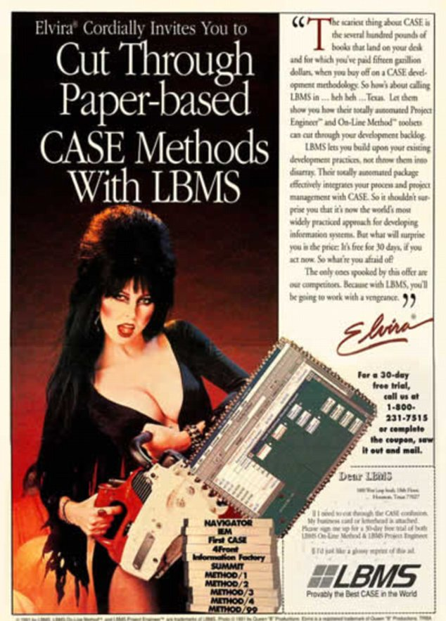Sex sells: Film character Elvira was recruited to depict a desktop as a chainsaw tearing apart the old ways of doing things in this bizarre 1991 advert