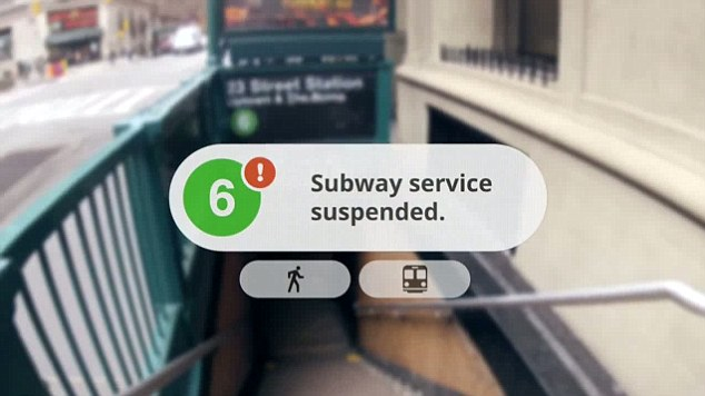 The demonstration shows off navigation information similar to what Google currently offers via its Maps service