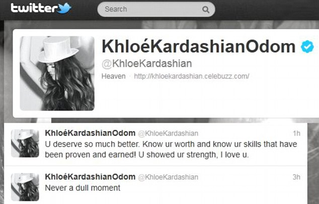 Show of love: Khloe tweeted to her husband that he 'deserved better' after his departure was announced