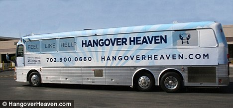 Post-party wagon: A new concept called Hangover Heaven will be making rounds of the Las Vegas strip starting next week, administering IV solutions to cure hangovers