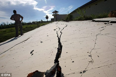 The day's largest quake struck off the coast of the Indonesian island of Sumatra, pictured, triggering a tsunami watch for the Indian Ocean