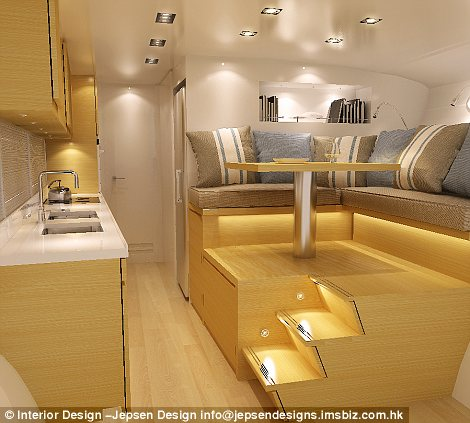 The galley has fresh running water, a stove and all one could want in a kitchen