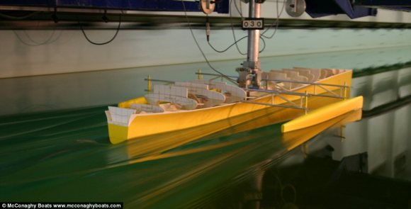 Early stages: The shape has been specially developed to cut through waves as it glides across the high seas