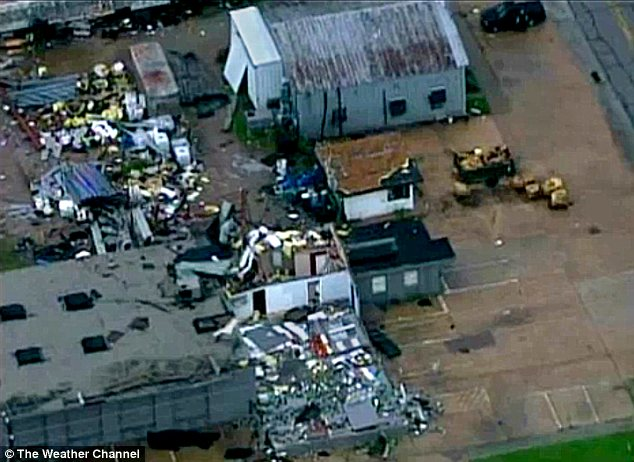 Damage: The storms struck Oklahoma on Friday, destroying several buildings around the town of Norman