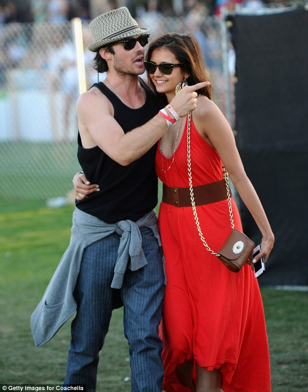 Red hot couple: Ian Somerhalder and Nina Dobrev were seen sharing a cute embrace at day 3 of Coachella festival today