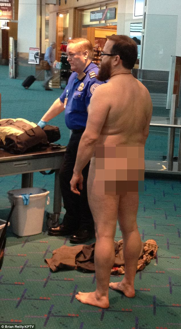 "Naked: John Brennan stripped off to protest about pat-down searches at Portland airport said Wednesday he was being eing ""nude but not lewd,"" : Brian Reilly/KPTX"