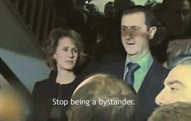 Demands: Asma Assad (left) is urged in the video to 'stop being a bystander' and order her Syrian dictator husband Bashar (right) to stop the violence