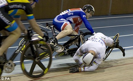 Crashing out: Chris Hoy's accident in 2009 put him out for the season