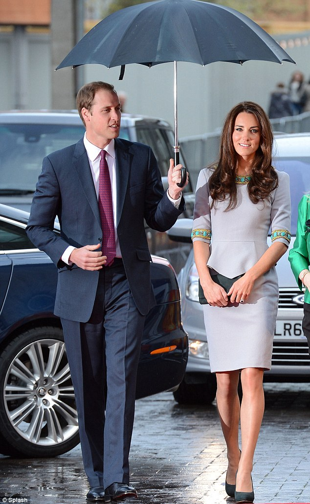 A true gent! William protects his wife from the rain as they arrive at the BFI Southbank for the premiere of African Cats, a nature documentary set to raise money for charity Tusk Trust  Read more: http://www.dailymail.co.uk/femail/article-2135095/Duchess-Cambridge-dazzles-embellished-Matthew-Williamson-dress-charity-premiere.html#ixzz1t7CSkstW (Courtesey Dailymail UK)