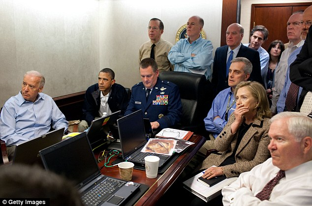 Looking on: President Barack Obama, Vice President Joe Biden, Secretary of State Hillary Clinton and members of the national security team receive an update on the mission against Osama bin Laden in the Situation Room May 1