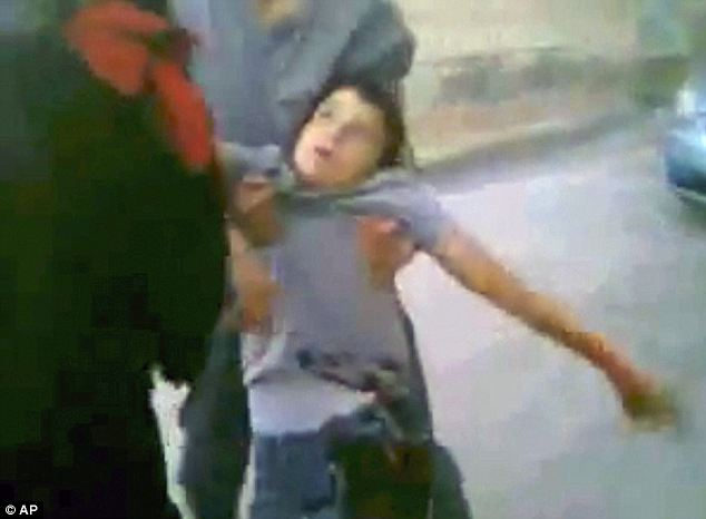 A video still of a boy's body in Daraa, Syria. He was apparently shot dead by Syrian troops