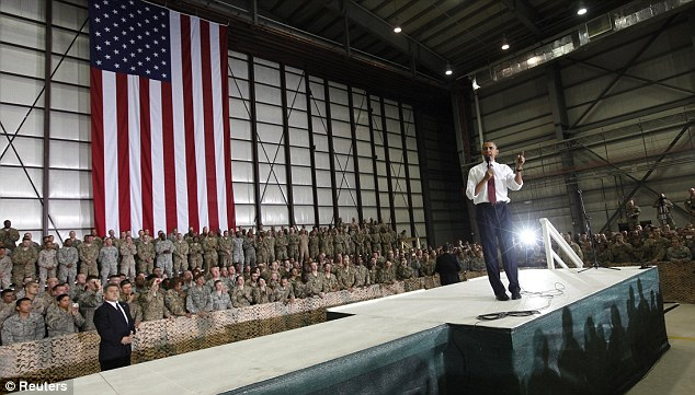 U.S. President Barack Obama speaks to troops at Bagram Air Base in Kabul before his address at 7.30 p.m EST to the United States