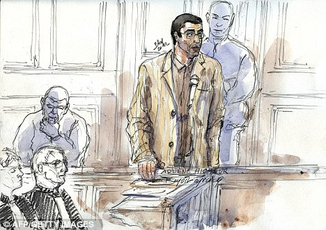 Sentenced: A court sketch of physicist Adlene Hicheur, who worked for the European Centre for Nuclear Research in Switzerland, speaking during his trial in Paris