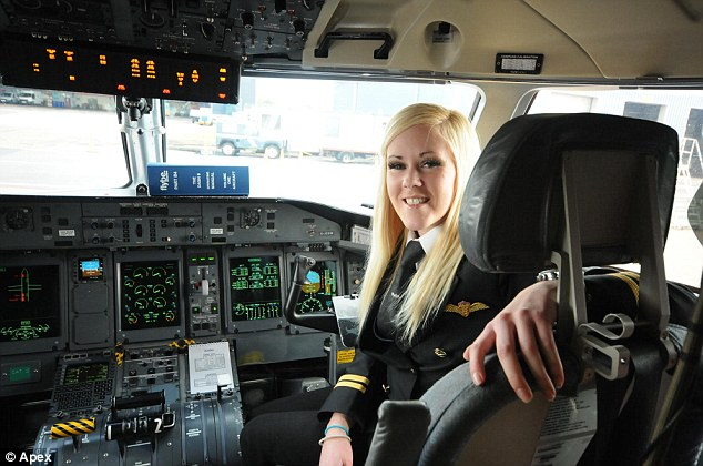 Life's ambition: Kate Moran has become one of Britain's youngest female airline pilots after securing a job with Devon-based firm Flybe in an industry with fewer than five percent of pilots are women