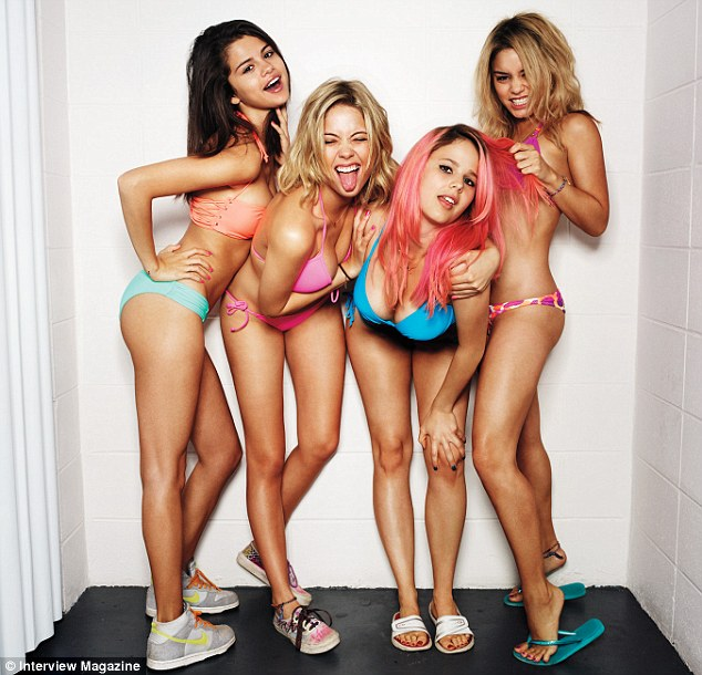 Bikini babes! Selena Gomez, Ashley Benson, Rachel Korine and Vanessa Hudgens (l. to r.) pose for an Interview magazine shoot