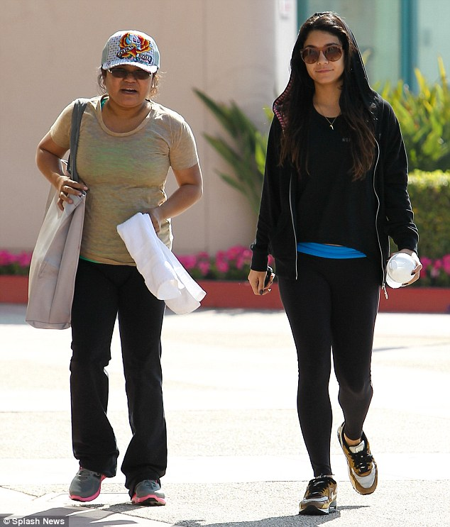 Family fitness: The 23-year-old actress and her mother hit the gym together in LA today