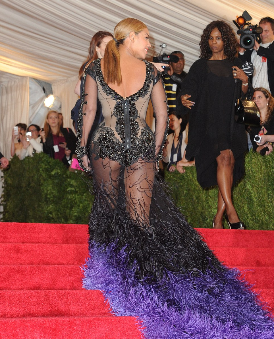 Back view: Beyonce's dress left very little to the imagination from behind