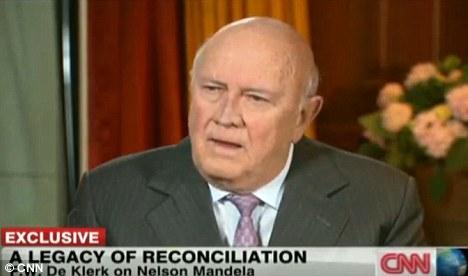 FW de Klerk spoke on CNN, saying the idea of separated ethnic communities was not repugnant