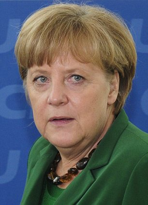 Angela Merkel, pictured, suffered a 'crushing' defeat when her Christian Democrats party suffered in yesterday's North-Rhine Westphalia elections
