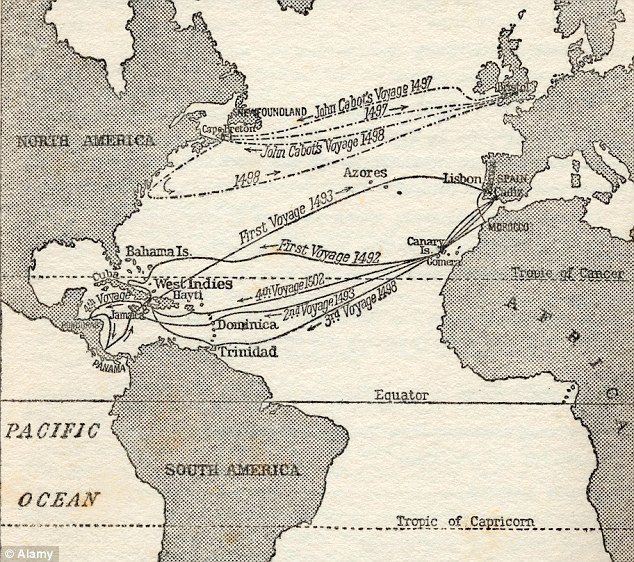 Map showing the voyages of Christopher Columbus and fellow explorer John Cabot: The expedition is said to have been funded not by Queen Isabella of Spain, but by three prominent Jews