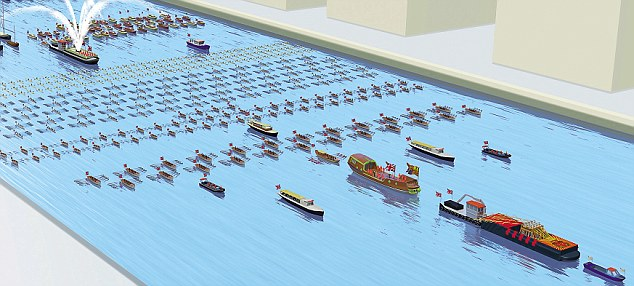 How the Queen's flotilla will look, with the bells ringing out on the barge at the front