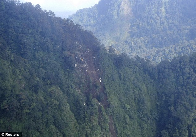 Crash site: Wreckage of the Russian Sukhoi Superjet 100 aircraft shown strewn across Mount Salak, West Java province