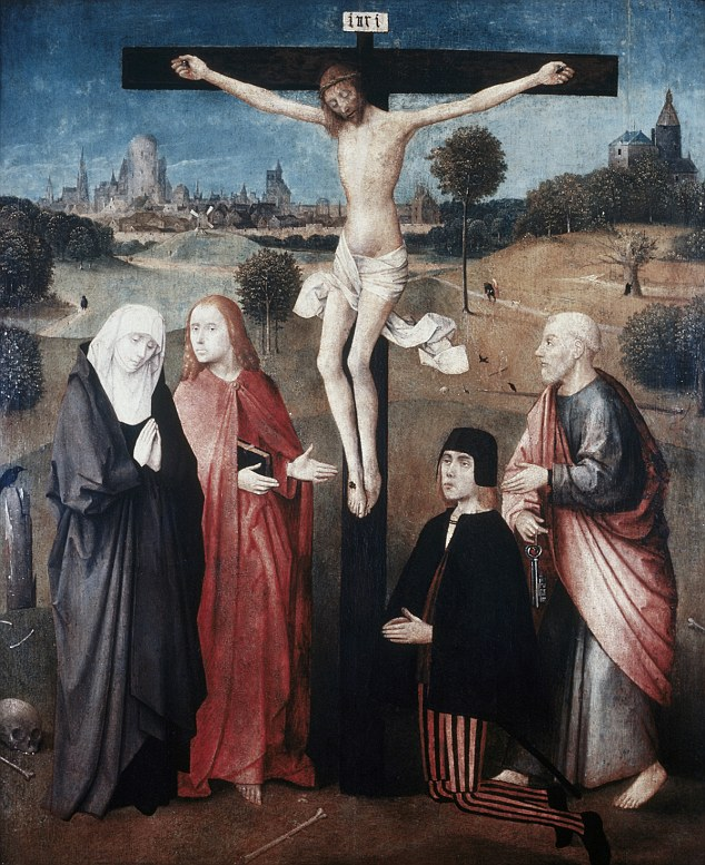 Hieronymus Bosch' painting of The Crucifixion of Jesus Christ (c. 1500)
