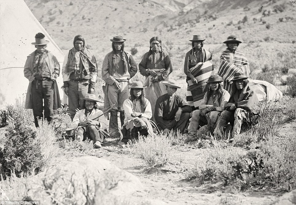 Native Americans: The Pah-Ute (Paiute) Indian group, near Cedar, Utah in a picture from 1872. Government officials were chartering the land for the first time