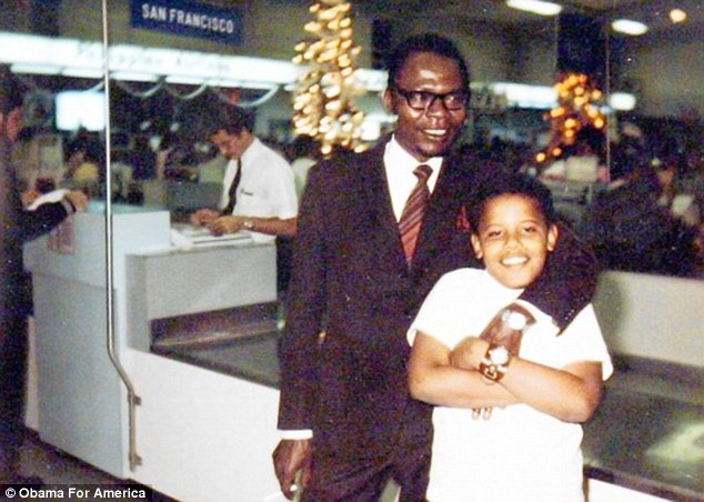 obama with father