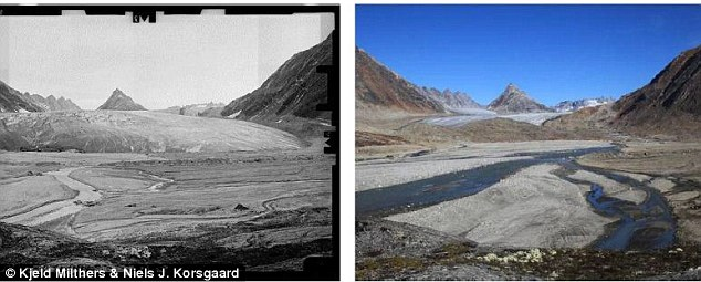 Images recorded in 1933 (left) and 2010 from a glacier northeast of Tasiilaq: During the 77 year period the glacier has retreated 1.7km