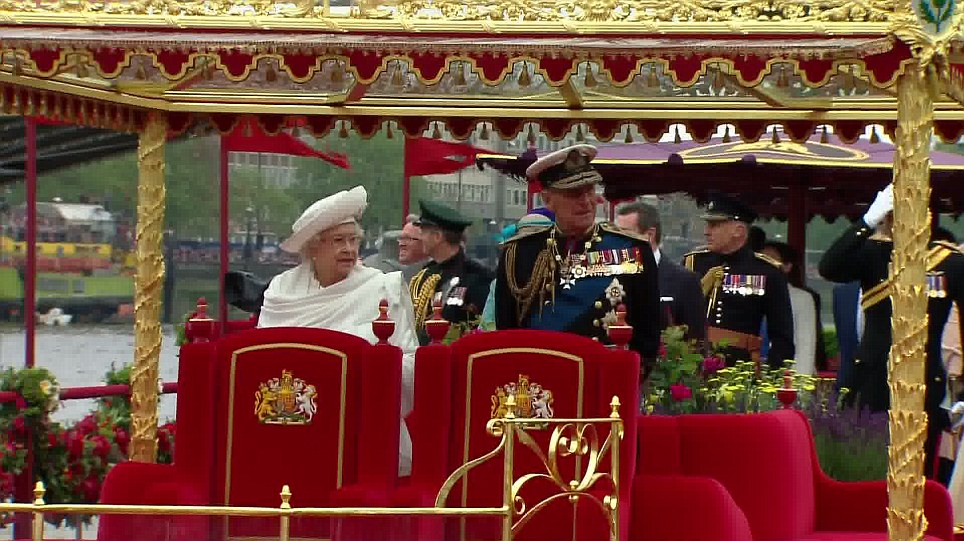 The Queen sets sail on the luxury barge with the Duke of Edinburgh and waved to the thousands of people gathered on the banks of the Thames