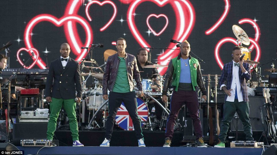 Feeling the love: Boy band JLS took to the stage to sing their hit track Everybody in Love
